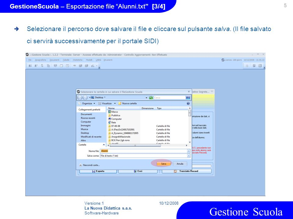 GestioneScuola – Esportazione file Alunni.txt [3/4]